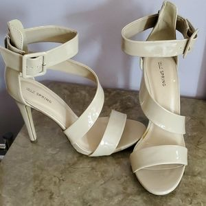 Size 10 Faux Leather Beige Strapped Heels